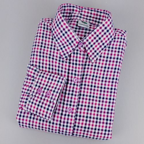Grenouille Ladies Long Sleeve Pink, Purple and Navy Blue Check Seersucker Shirt